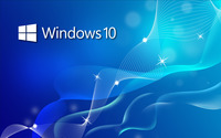 Windows 10 small text logo on blue waves wallpaper 2560x1600 jpg