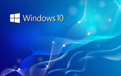 Windows 10 small text logo on blue waves Wallpaper
