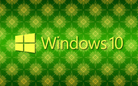 Windows 10 yellow text logo on green pattern wallpaper 2560x1600 jpg