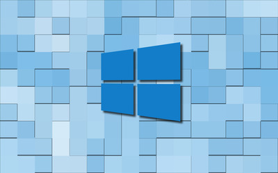 Windows 10 blue simple logo on  blue tiles wallpaper