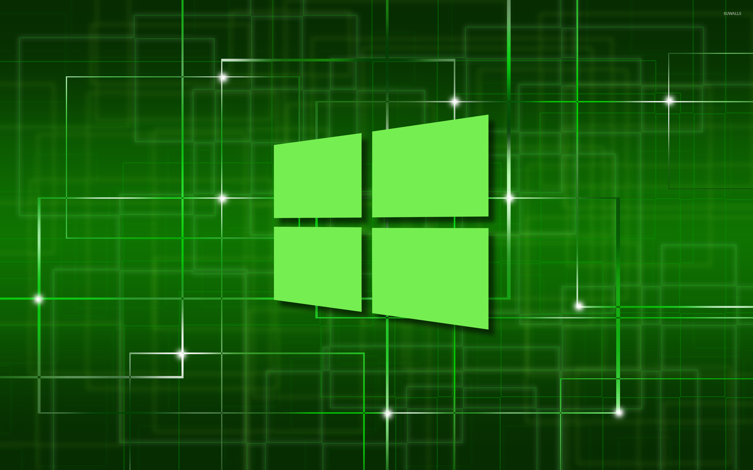 Windows 10 Green Simple Logo On A Network Wallpaper