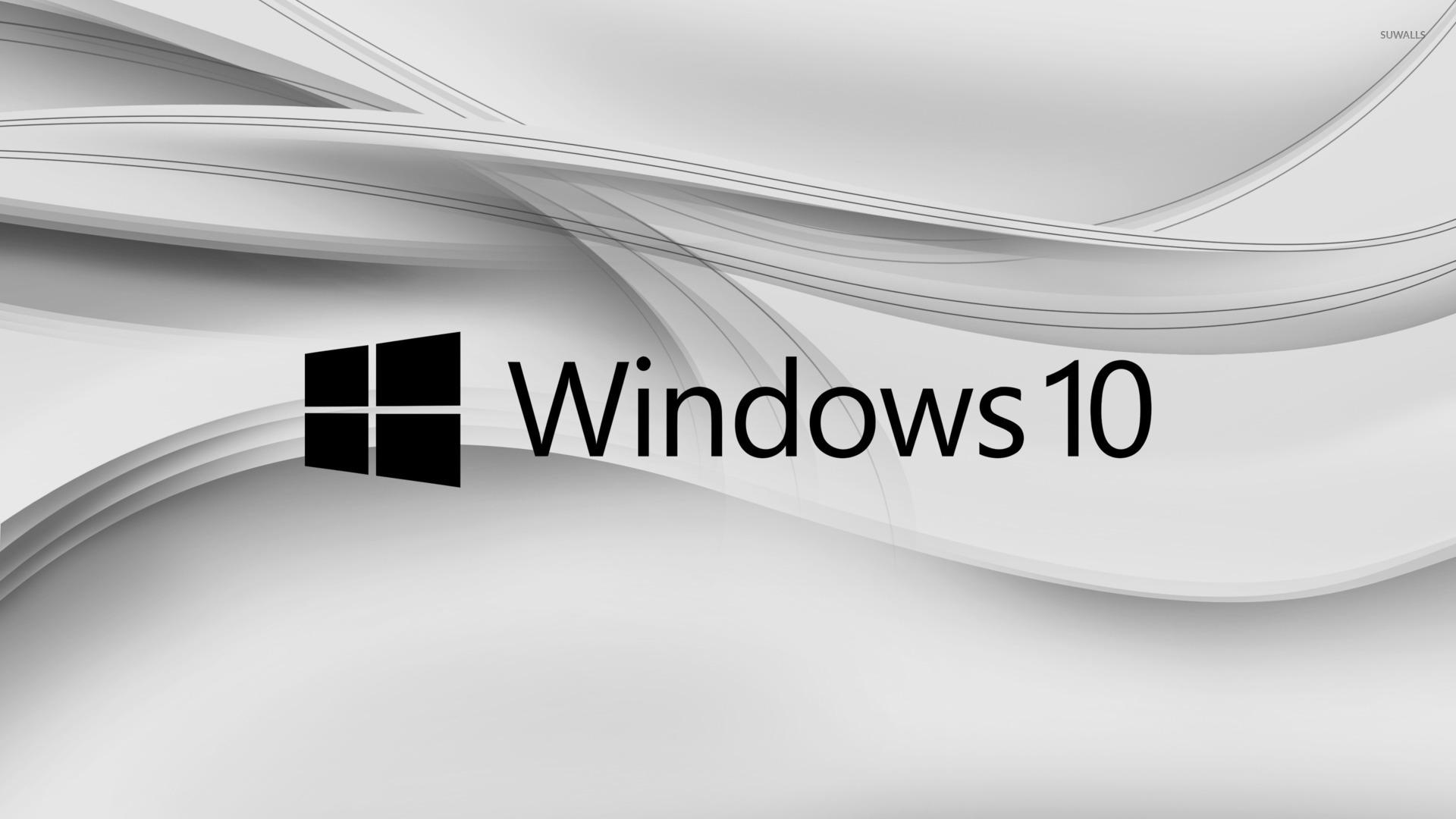 Windows 10 Black Text Logo On Gray Aves Wallpaper