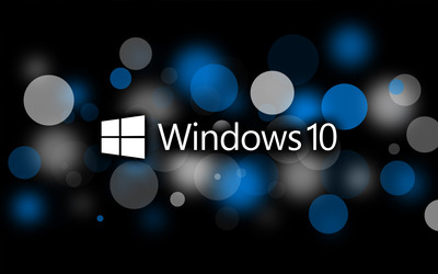 Windows 10 text logo on blue circles wallpaper
