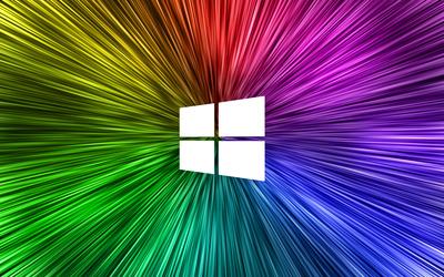 Windows 10 simple white logo on rainvow rays wallpaper