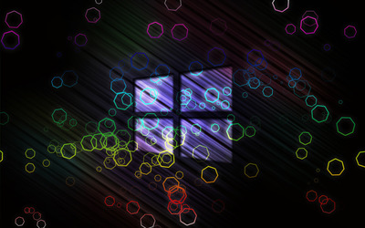 Windows 10 transparent logo on colorful hexagons wallpaper