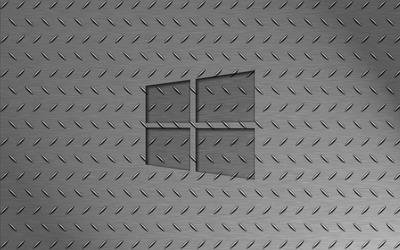 Windows 10 transparent logo on metallic floor wallpaper