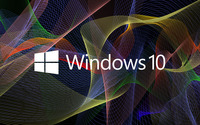 Windows 10 white text logo on colorful waves wallpaper 2560x1600 jpg