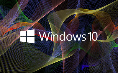 Windows 10 white text logo on colorful waves wallpaper