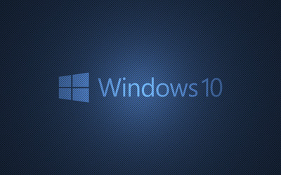 Windows 10 text logo on blue lines wallpaper