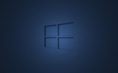 Windows 10 transparent logo on blue stripes wallpaper