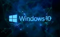 Windows 10 text logo on blue network wallpaper 2880x1800 jpg