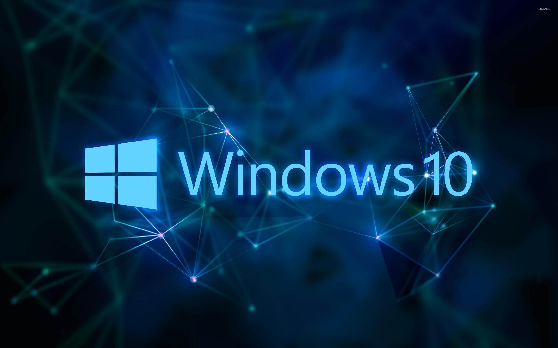 Windows 10 Text Logo On Blue Network Wallpaper