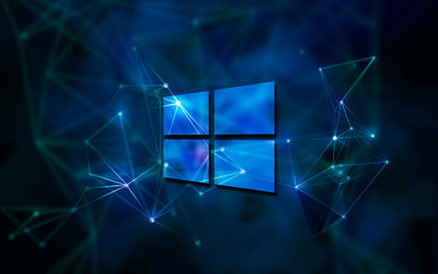 Windows 10 transparent logo on blue network wallpaper
