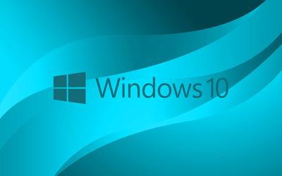 Windows 10 blue text logo on light blue wallpaper