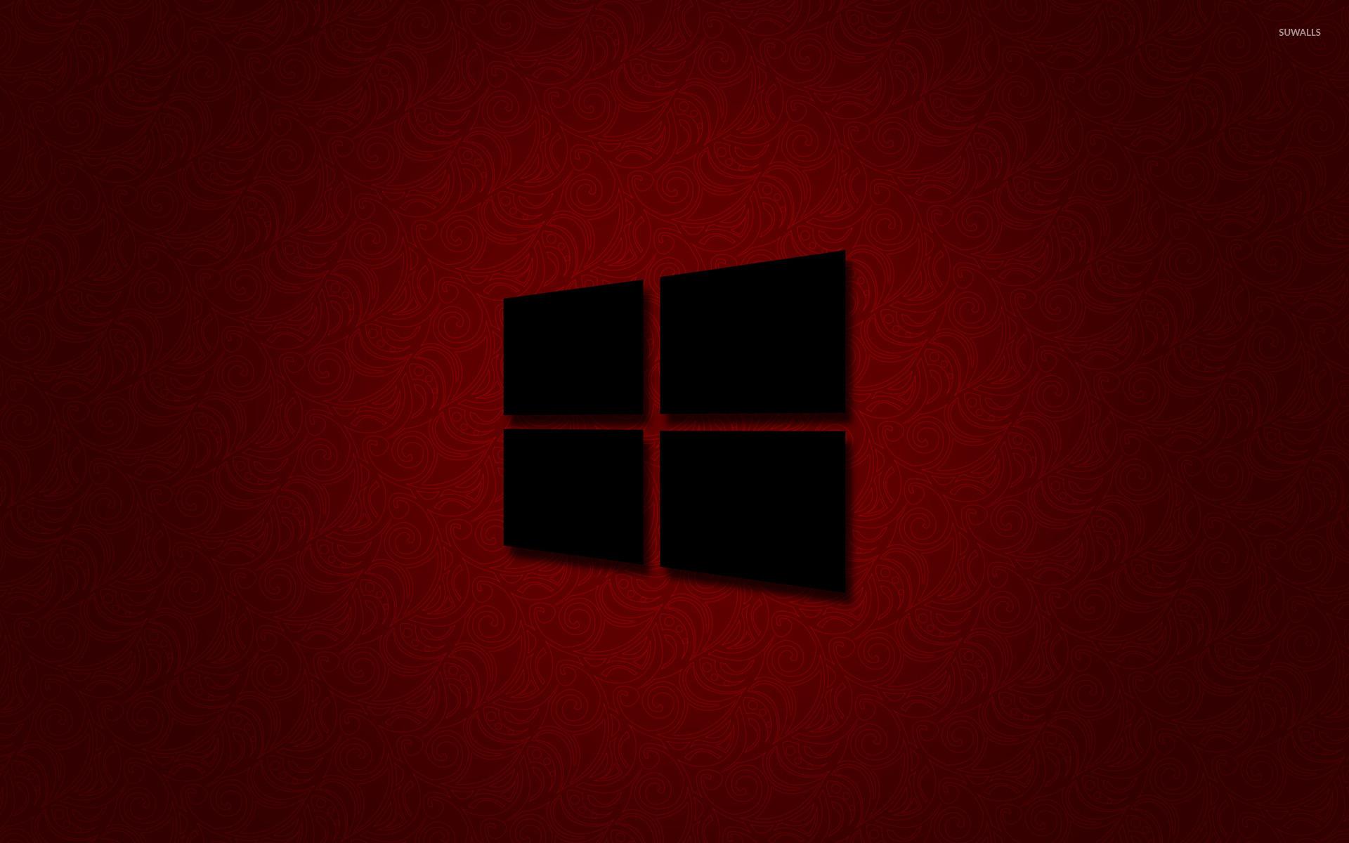 windows 10 black logo on red wallpaper computer