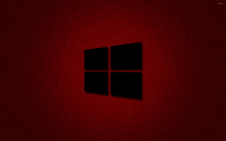 Windows 10 black logo on red wallpaper - Computer wallpapers