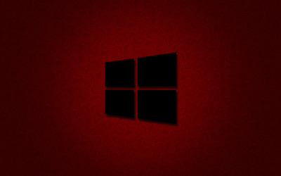 Windows 10 black logo on red wallpaper