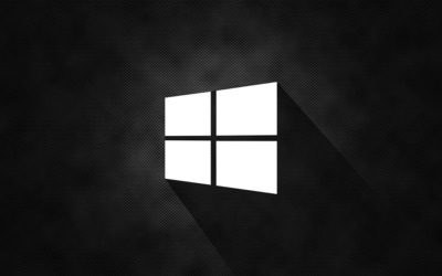 Windows 10 simple white logo on black wallpaper