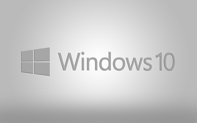 Windows 10 gray text logo on gray gradient wallpaper