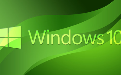 Windows 10 text logo on green curves wallpaper