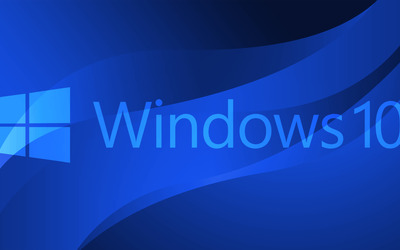 Windows 10 text logo on blue curves wallpaper