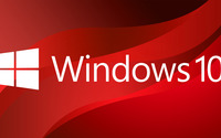 Windows 10 big white logo on red curves wallpaper 3840x2160 jpg