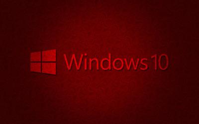 Windows 10 text logo on dark red pattern wallpaper