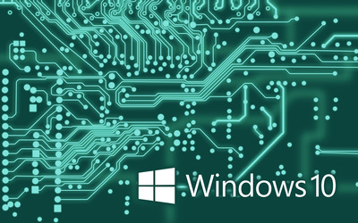 Windows 10 white text logo on the circuit board wallpaper
