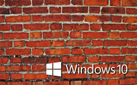 Windows 10 white text logo on the brick wall wallpaper 2560x1600 jpg
