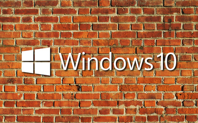 Windows 10 big text logo on the brick wall wallpaper