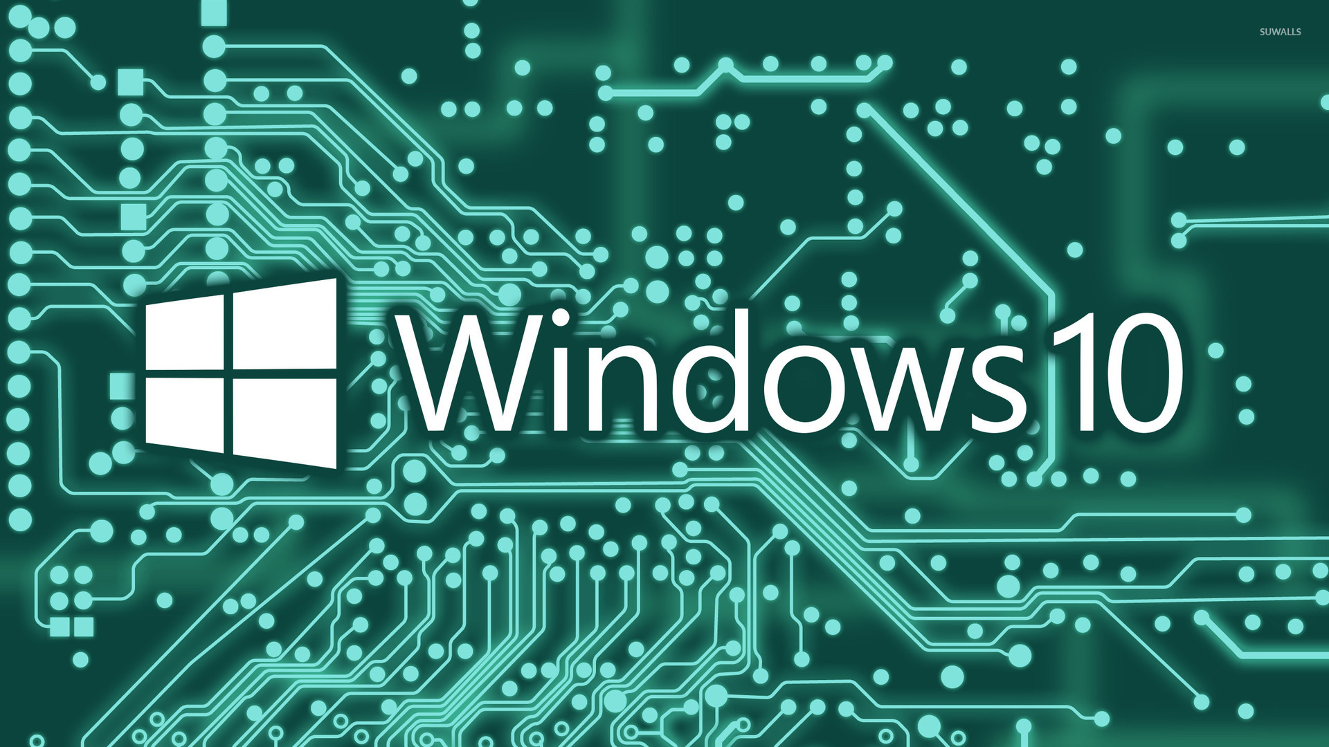 windows 10 white text logo on a circuit board wallpaper