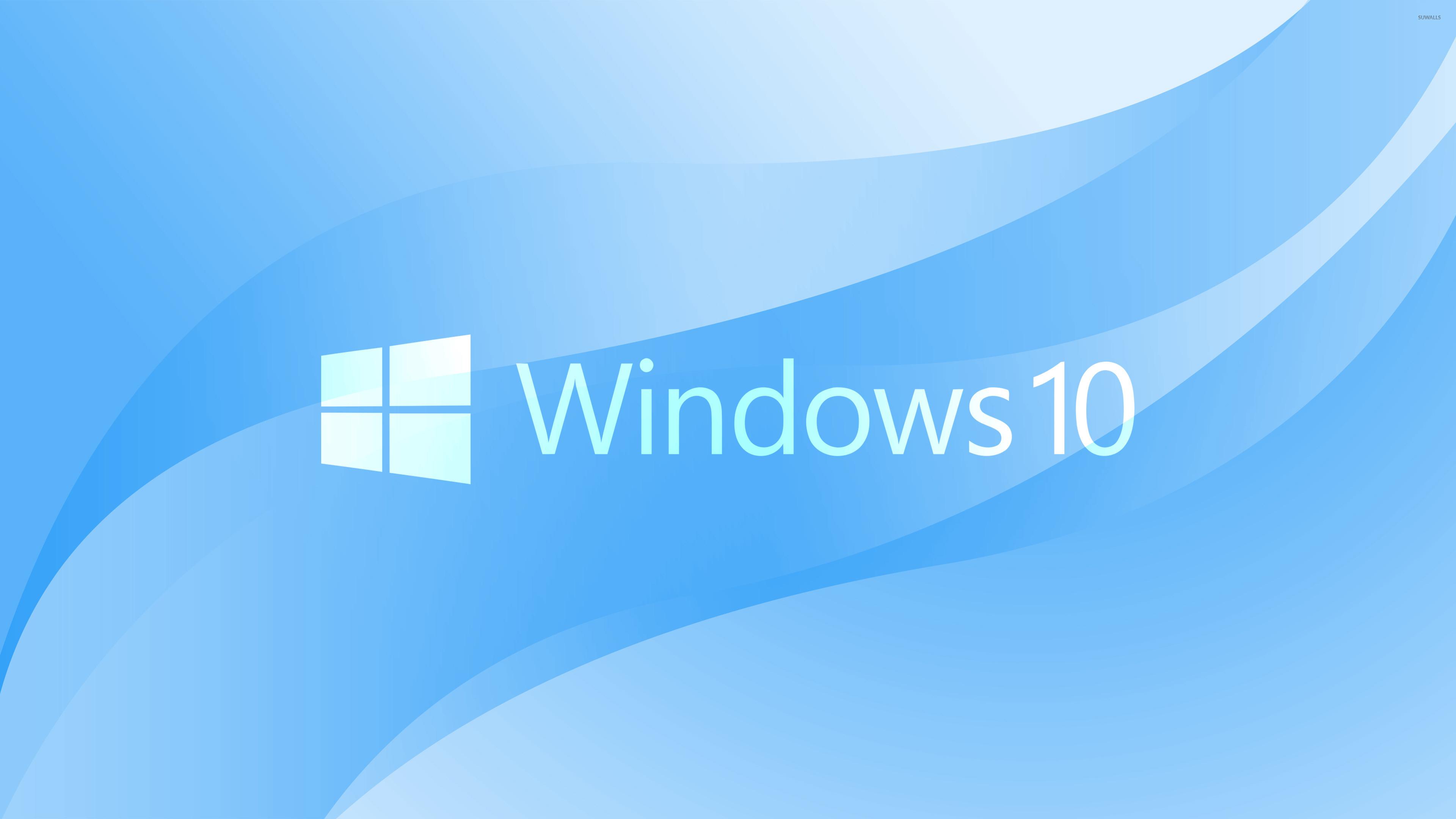 Windows 10 White Text Logo On Light Blue Wallpaper