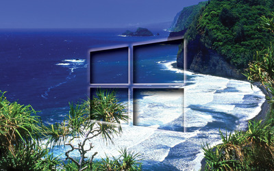 Windows 10 transparent logo on the tropical shore wallpaper