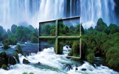 Windows 10 transparent logo by the waterfall wallpaper