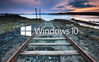 Windows 10 white text logo on the railroad tracks wallpaper 2560x1440 jpg