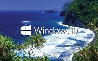 Windows 10 white text logo on the tropical shore wallpaper