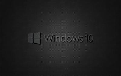 Windows 10 transparent text logo on black wallpaper