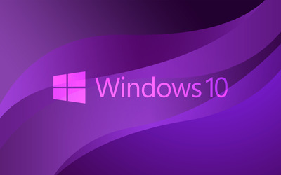 Windows 10 transparent text logo on purple wallpaper
