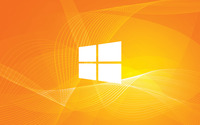 Windows 10 simple white logo on orange curves wallpaper 1920x1200 jpg