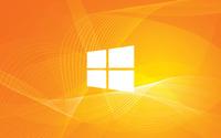 Windows 10 simple white logo on orange curves wallpaper 1920x1200 jpg