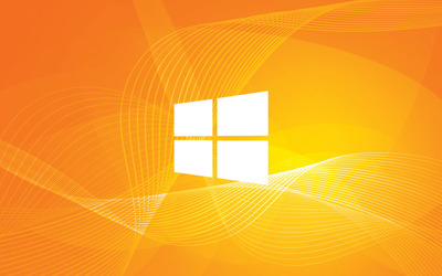 Windows 10 simple white logo on orange curves wallpaper