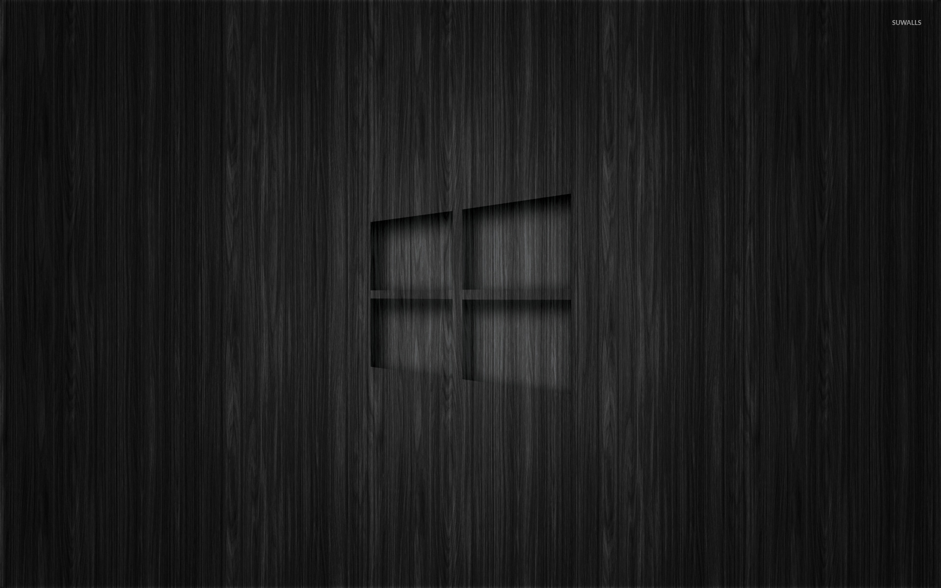 Windows 10 Transparent Logo On Dark Wood Wallpaper