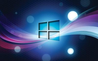 Windows 10 transparent logo on blue waves wallpaper