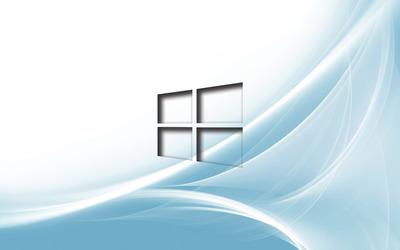 Windows 10 transparent logo on light blue curves wallpaper