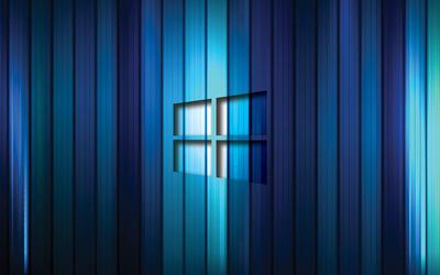 Windows 10 transparent logo on blue stripes [2] wallpaper