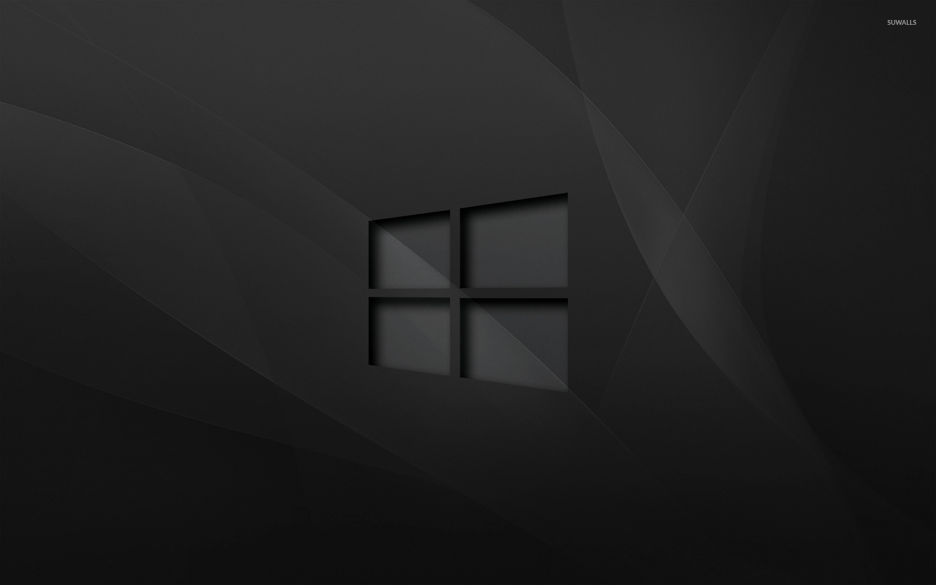 Windows 10 Transparent Logo On Black Waves Wallpaper