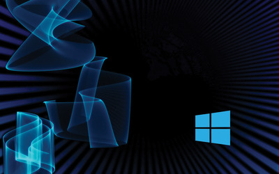 Windows 10 simple blue logo on blue rays and waves wallpaper