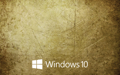 Windows 10 white text logo on the scratched metal wallpaper