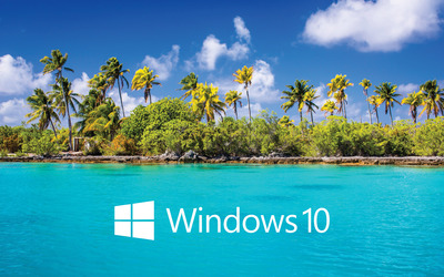 Windows 10 text logo over the island wallpaper