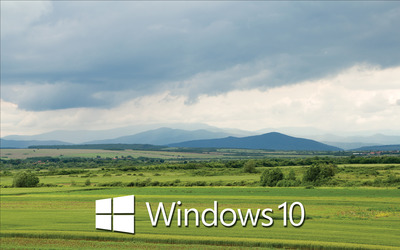 Windows 10 white text logo over the green field wallpaper